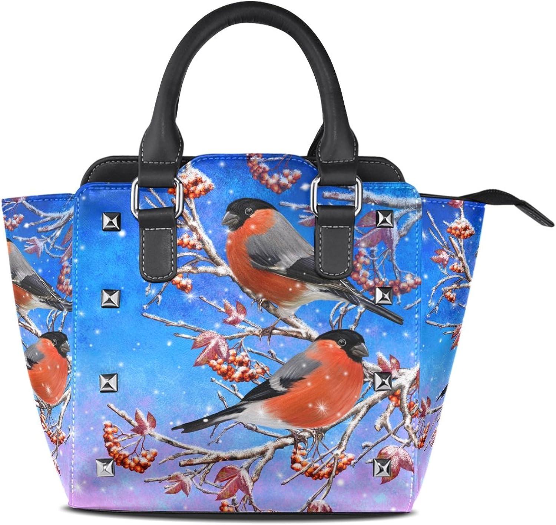 My Little Nest Women's Top Handle Satchel Handbag Two Birds Red Berries Ladies PU Leather Shoulder Bag Crossbody Bag