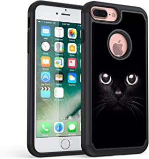 iPhone 7 Plus Case,iPhone 8 Plus Case,Rossy Heavy Duty Hybrid TPU Plastic Dual Layer Armor Defender Protection Case Cover for Apple iPhone 7 Plus/8 Plus,Black Cat Face Eyes