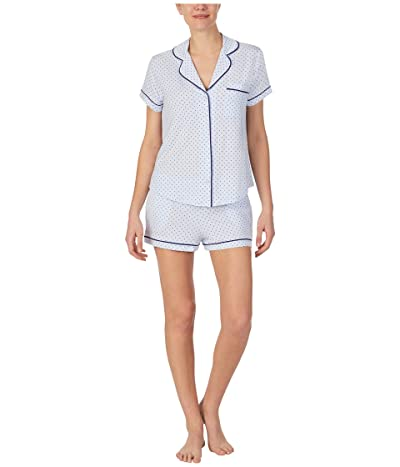 Kate Spade New York Modal Jersey Notch Collar Shorty PJ Set (Blue Ribbon Pindot) Women