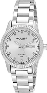 Akribos Xxiv Diamond Day/Date Women's Silver Stainless Steel Band Watch - Ak965Ss, Analog Display