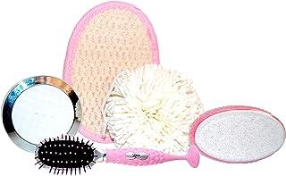 Rucci Bath Set with Eva Sponge Ball/White Compact Mirror/Pink Massage Pad/Pumice Stone/Oval Suction Hairbrush, 1 Pound