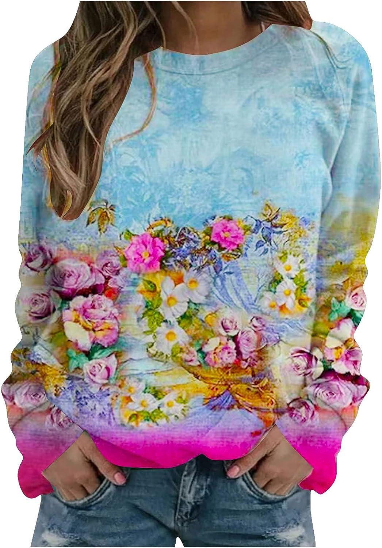 Women's Animal Printed Long Sleeve Top T-Shirt Casual Color Block Shirt Pullover Tunics