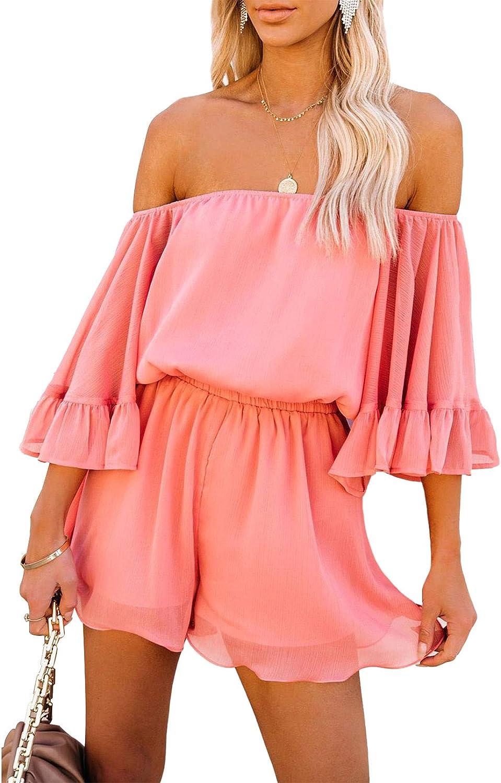 Pink Wind Women's Summer Off Shoulder Romper Casual Floral Flare Sleeve One Piece Short Jumpsuit