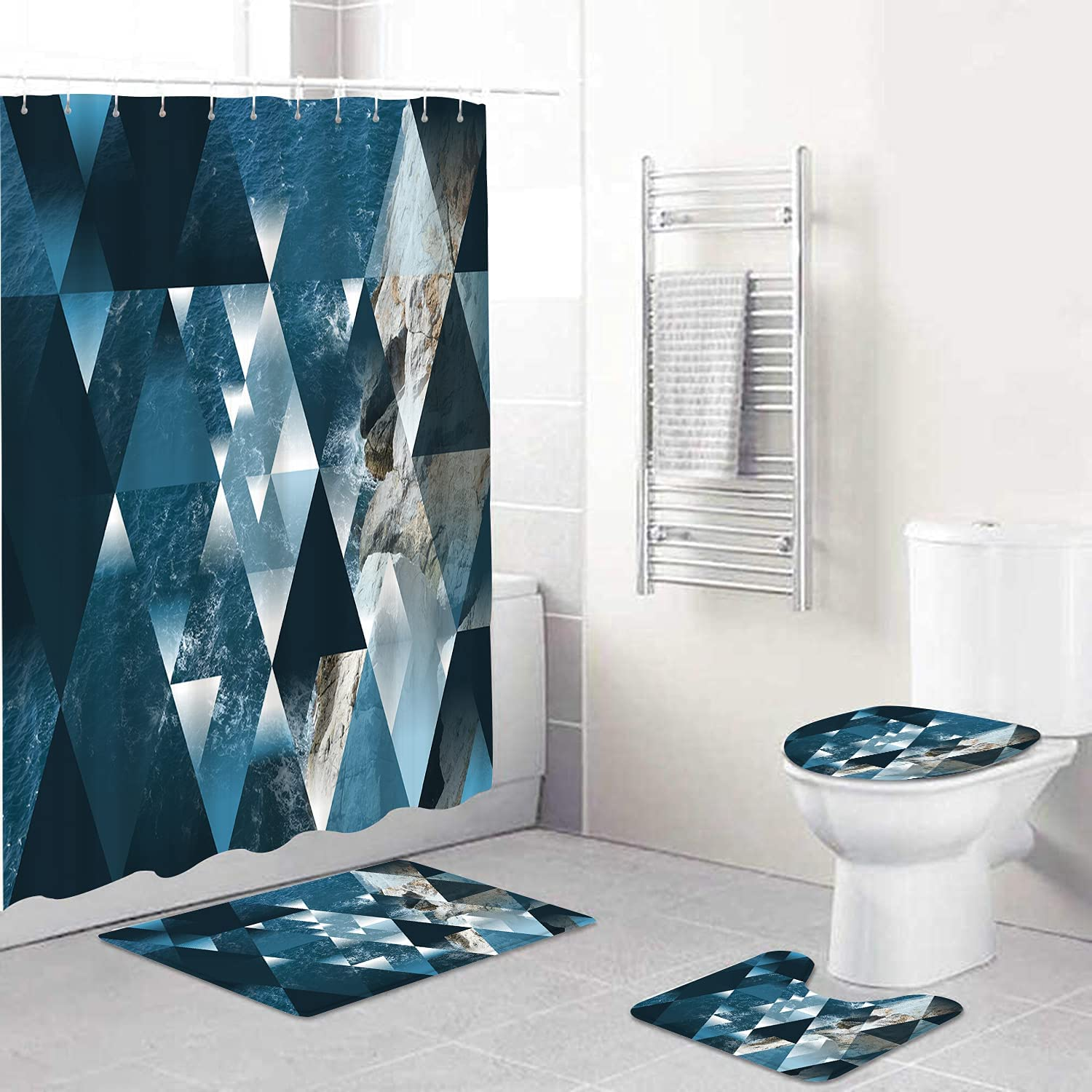 OPMLISIR 4 Pcs Shower Curtain Sets with Non-Slip Rugs Selling and selling Toilet Max 86% OFF Lid