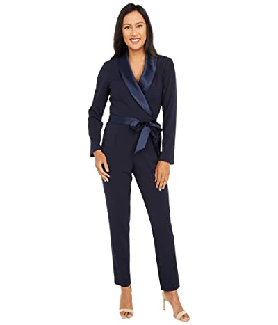 Adrianna Papell Knit Crepe Wrap Top Jumpsuit with Long Sleeves, Slim Pants, and Stretch Charmeuse Collar (Midnight) Women