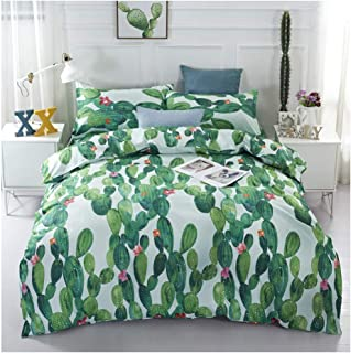 KFZ Bed Set 3D Sea Beach Watercolor Print (1 Duvet Cover Set+2 Pillowcases) Twin Full Queen King Vacation Leisure Style for Kids Boy Children's Home Textile Bedding (Cactus, Queen,90