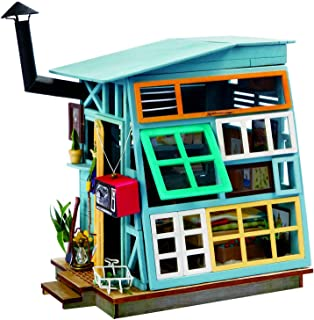 RoWood DIY Miniature Dollhouse Kit, Wooden Mini House Set with Furniture and Accessories - Wooden Hut