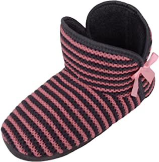 ABSOLUTE FOOTWEAR Womens Knitted Style Slip On Bootie Slippers/Shoes with Stripe Design