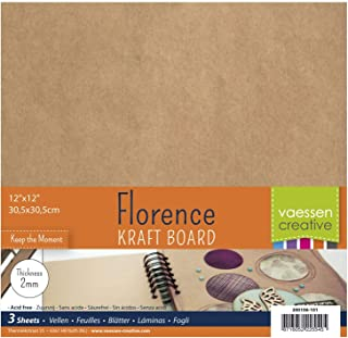 Vaessen Creative Feuilles d'Aggloméré pour Loisirs Créatifs 2mm, Ensemble de 3 Feuilles Carrées, 30,5 x 30,5 cm, pour Scra...