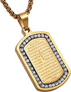AsAlways Bible Verse Prayer Necklace 22+2 Chain Christian Jewelry 18K Gold Plated CZ Stainless Steel Praying Hands Coin Me...