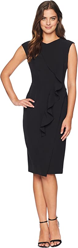 Solid Crepe Sheath With Front Cascade Ruffle