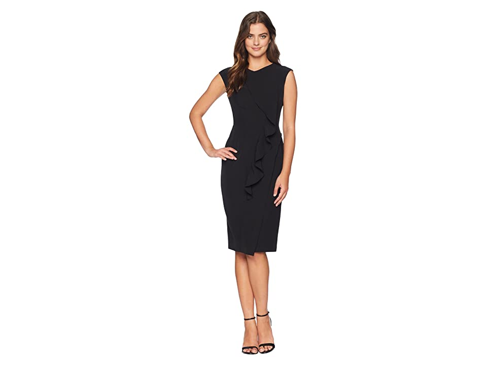 Maggy London Solid Crepe Sheath With Front Cascade Ruffle (Black) Women