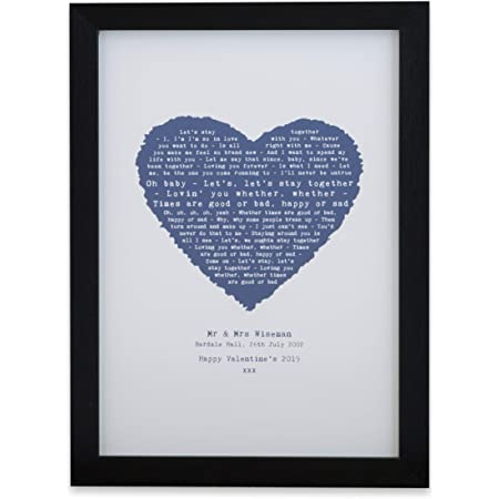 Any favourite SONG LYRIC// QUOTE Personalised Art Print Anniversary Gift