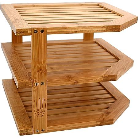 Wooglaste ® - Organiseur de Cuisine -Étagère d'angle - Porte Assiettes - en Bois de Bambou - Grand Format - 3 Niveaux de Rangement - Organisation Plan de Travail