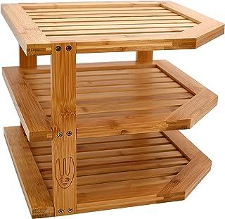 Wooglaste ® - Étagère d'angle - Organiseur de Cuisine - en Bois de Bambou - Grand Format - 3 Niveaux de Rangement - Organi...