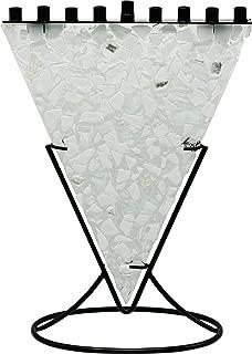 The Dreidel Company Hanukkah Menorah Detailed Clear and Soft Aqua Tones of Fused Artistic Triangular Shaped Glass Menora in A Distinctive Metal Cradle