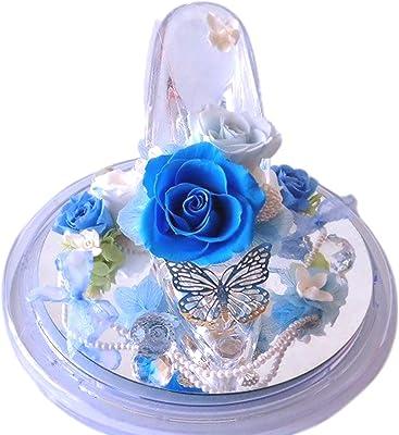 フローリストレマン プリザーブドフラワー ガラスの靴 シンデレラ プロポーズ 結婚祝い サムシングブルー グラスヒール(ブルー)
