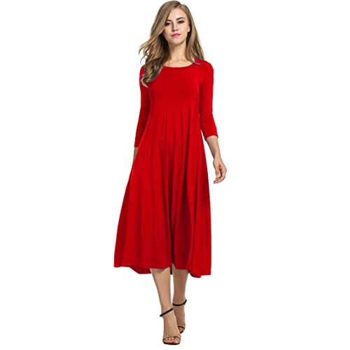 21a8e49695e Hotouch Women's 3/4 Sleeve A-line and Flare Midi Long Dress