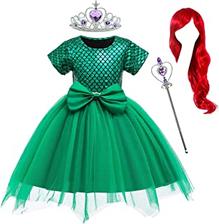 Little Girls Mermaid Green Dress Princess Ariel Costumes for Toddler Girls with Accessories 18 Months to 6 Years