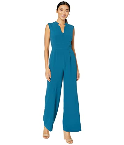 Tahari by ASL Stretch Crepe Notch Neck Jumpsuit (Ocean) Women
