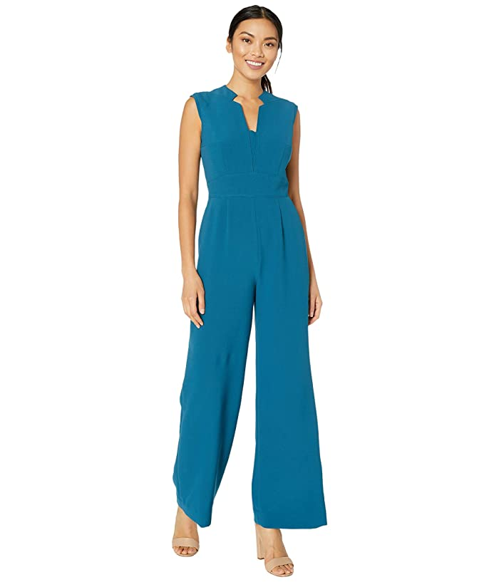 Tahari by ASL  Stretch Crepe Notch Neck Jumpsuit (Ocean) Womens Jumpsuit and Rompers One Piece