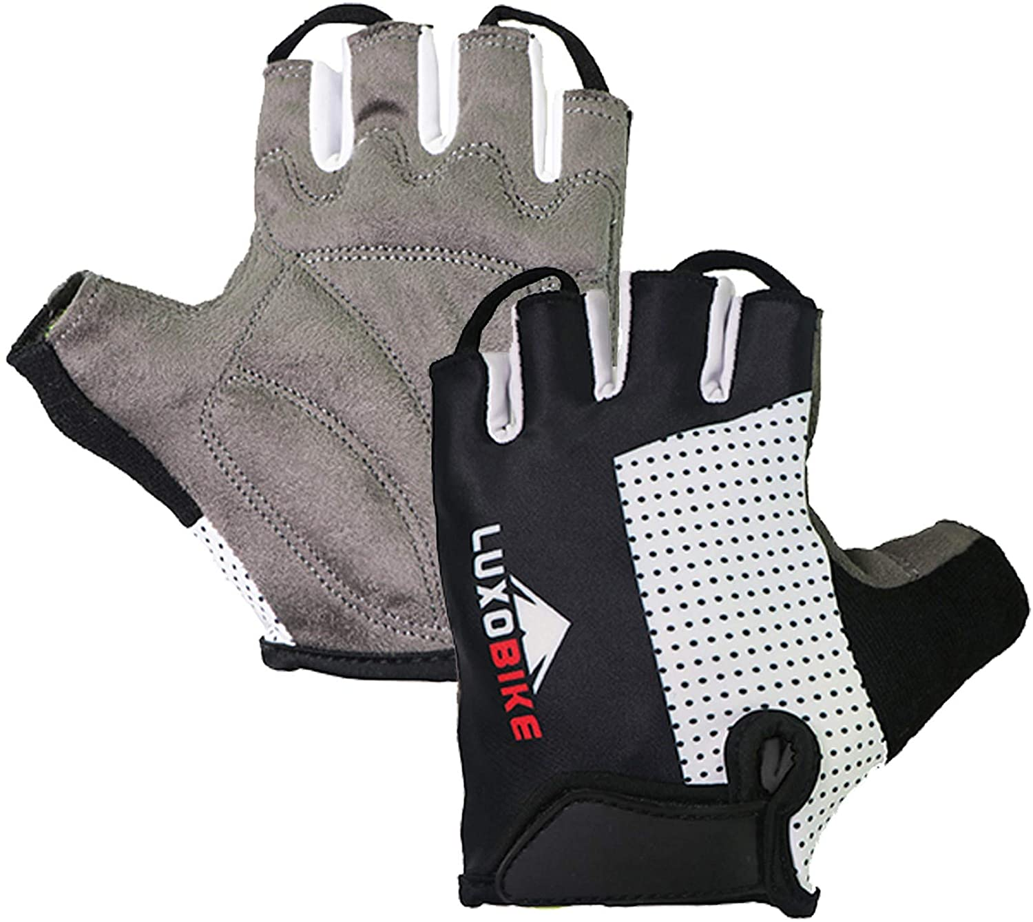 LuxoBike Cycling Gloves Bicycle Gloves Bicycling Gloves Mountain Bike Gloves – Anti Slip Shock Absorbing Padded Breathable Half Finger Short Sports Gloves Accessories for Men/Women