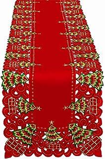 grelucgo bordado Árbol de Navidad Holiday Holly camino de mesa y aparador bufanda rectangular 16x 72pulgadas 100% poli...