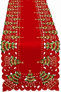 Grelucgo Embroidered Christmas Holiday Holly Tree Table Runner, Dresser Scarf, Rectangular 16 x 132 Inch