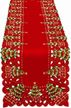Grelucgo Large Embroidered Christmas Holiday Holly Tree Table Runner, Dresser Scarf, Rectangular 16 x 108 Inch
