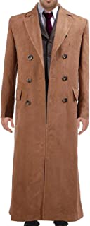 Wolfbar Men's 10th Dr Long Suede Trench Coat Halloween Costume