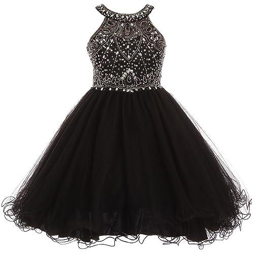 4db762cb4 iGirldress Girls Rhinestone Halter Neck Dazzling Junior Bridesmaid Dress  (Size4-16)