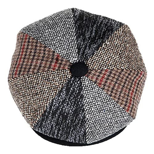 6a9bf72b Mens Patchwork Wool Big Apple Duckbill Ivy Newsboy Irish Tweed Cap Hat