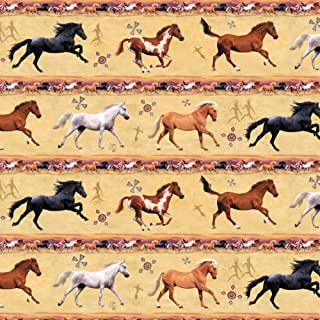 GRAPHICS & MORE Horses Southwestern Border Pattern Premium Roll Gift Wrap Wrapping Paper