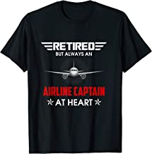 Funny Retired But always Airline captain at heart Tshirt