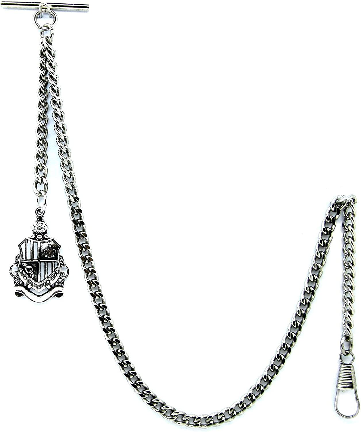 New Shipping Free Albert Chain Silver Color Pocket Watch Chains Men for with Award-winning store Swive