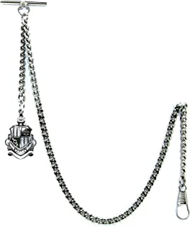 Albert Chain Pocket Watch Curb Link Chain Antique Silver Plating Shield Design Fob T Bar AC58