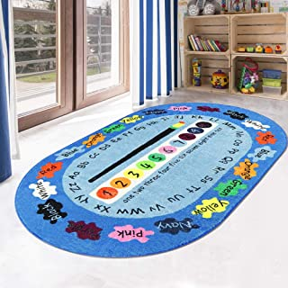 LIVEBOX Play Mat, Faux Wool Kids Play Area Rugs 3' x 5' Non-Slip Childrens Carpet ABC Number and Color Educational Learning & Game Decor Living Room Bedroom Playroom Nursery 2019 Best Shower Gift