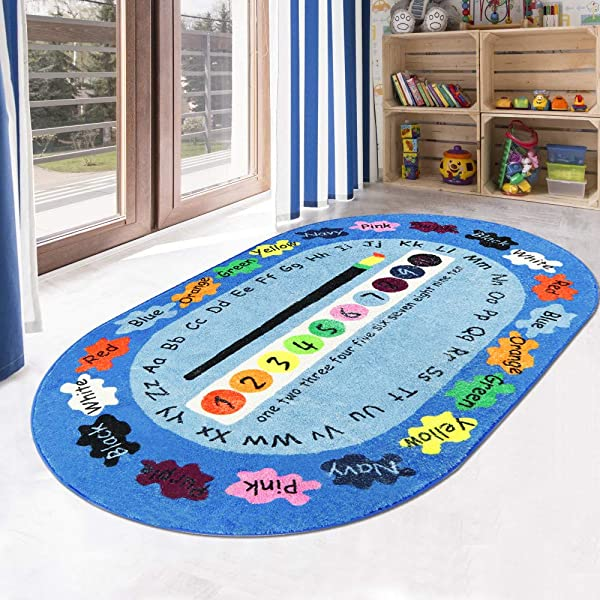 LIVEBOX Play Mat Faux Wool Kids Play Area Rugs 4 X 6 Non Slip Childrens Carpet ABC Number And Color Educational Learning Game For Living Room Bedroom Playroom Nursery 2019 Best Shower Gift