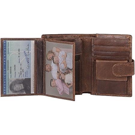 Taipinglang Portefeuille Homme Cuir veritable RFID Portefeuille pour Homme en Cuir Porte /à Monnaie Carte de Cr/édit pour la Saint Valentin f/ête des p/ère Marron fonc/é