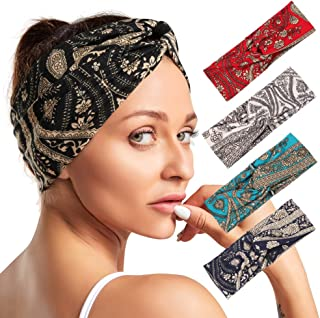 Twinfree 5 Pack Bohemia Turban Headband for Women Cross Head Wrap Hair Band