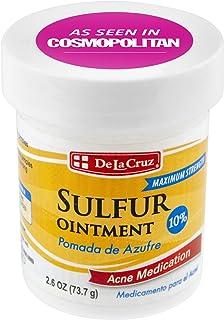 De La Cruz 10% Sulfur Ointment Acne Medication, Allergy-Tested, No Preservatives, Fragrances or Dyes, Made in USA 2.6 OZ.