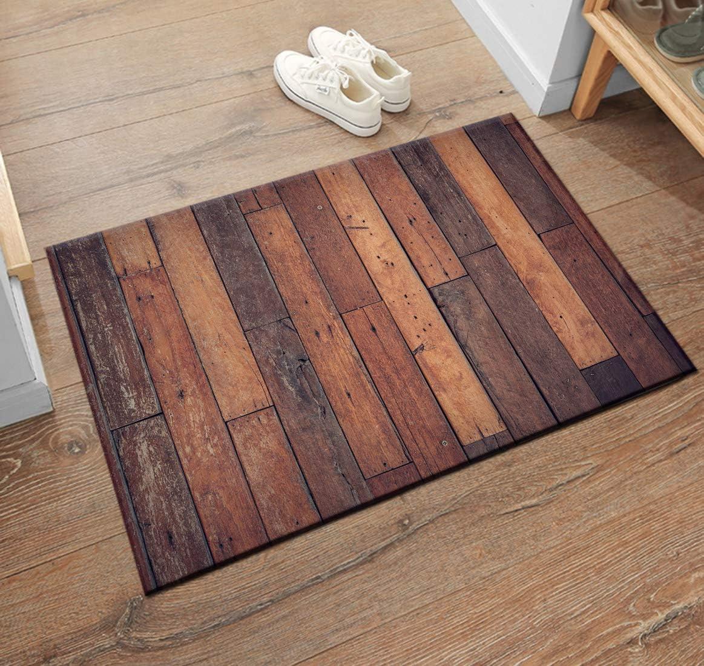 HVEST Wooden Plank Area Rugs Vintage Wood Carpet Non Slip Doormat for  Living Room Bedroom Kitchen Floor Mat,9&9;9
