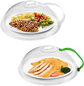 Microwave Splatter Cover, Deep Microwave Cover for Food, Large Microwave Plate Cover with Handle Steam Vents Keeps Microwave Oven Clean BPA Free-2 Pack Transparent Cover