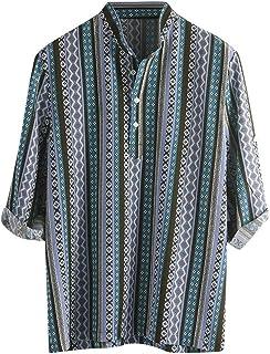 Camisa De Hombre Henley Camisa Casual Camisas A Rayas Tamaños Cómodos Camisa De Verano Para Hombre Botón De Hombre Solapa ...