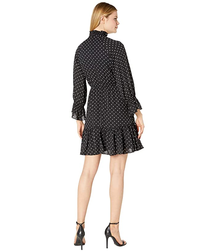 Donna Morgan Long Smocked Sleeve Georgette Fit-and-flare High Neck Dress - Ropa Vestidos
