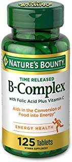 Vitamin B-Complex by Nature's Bounty, Time Released Vitamin Supplement w/ Folic Acid Plus Vitamin C, Supports Energy Metab...