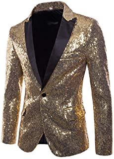 Mens Tails Slim Fit Sequin Dress Coat Swallowtail Dinner Party Wedding Blazer Suit Jacket Goosun Casual One Button Fit Bli...
