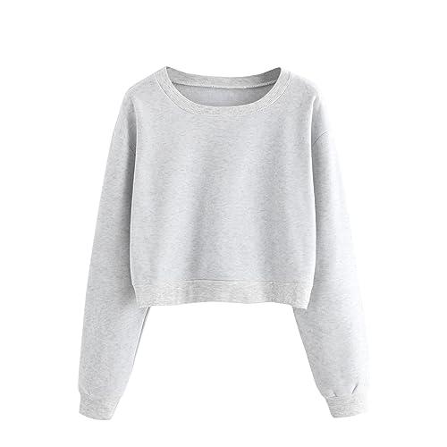 fec27d99850 Verdusa Women's Casual Long Sleeve Pullover Sweatshirt Crop Tops Shirt