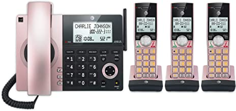 $69 » AT&T CL84327 4 Handset Corded/Cordless Phone with Answering System and Smart Call Blocker Rose Gold (Renewed)