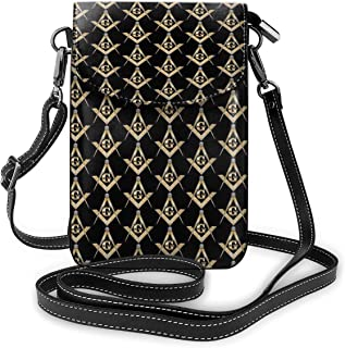 Cell Phone Purse Small Crossbody Masonic Square Wallet Bags With Adjustable?Shoulder Strap Women